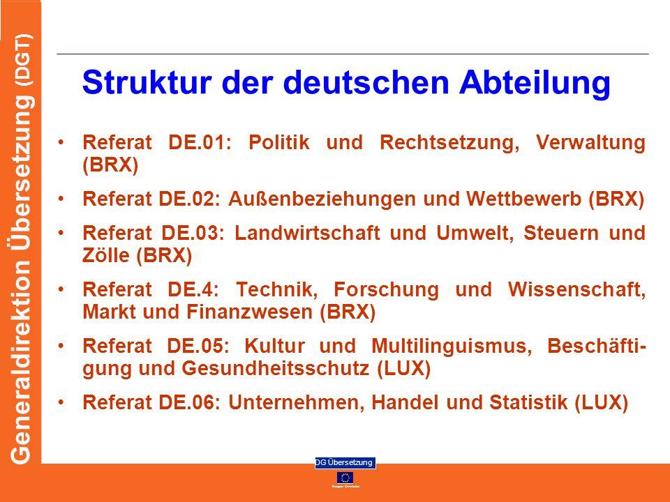 European Commission DG Übersetzung Generaldirektion Übersetzung (DGT) Struktur der deutschen Abteilung Referat DE.01: Politik und Rechtsetzung, Verwal