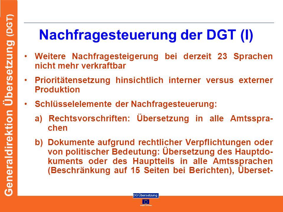 European Commission DG Übersetzung Generaldirektion Übersetzung (DGT) Nachfragesteuerung der DGT (I) Weitere Nachfragesteigerung bei derzeit 23 Sprach