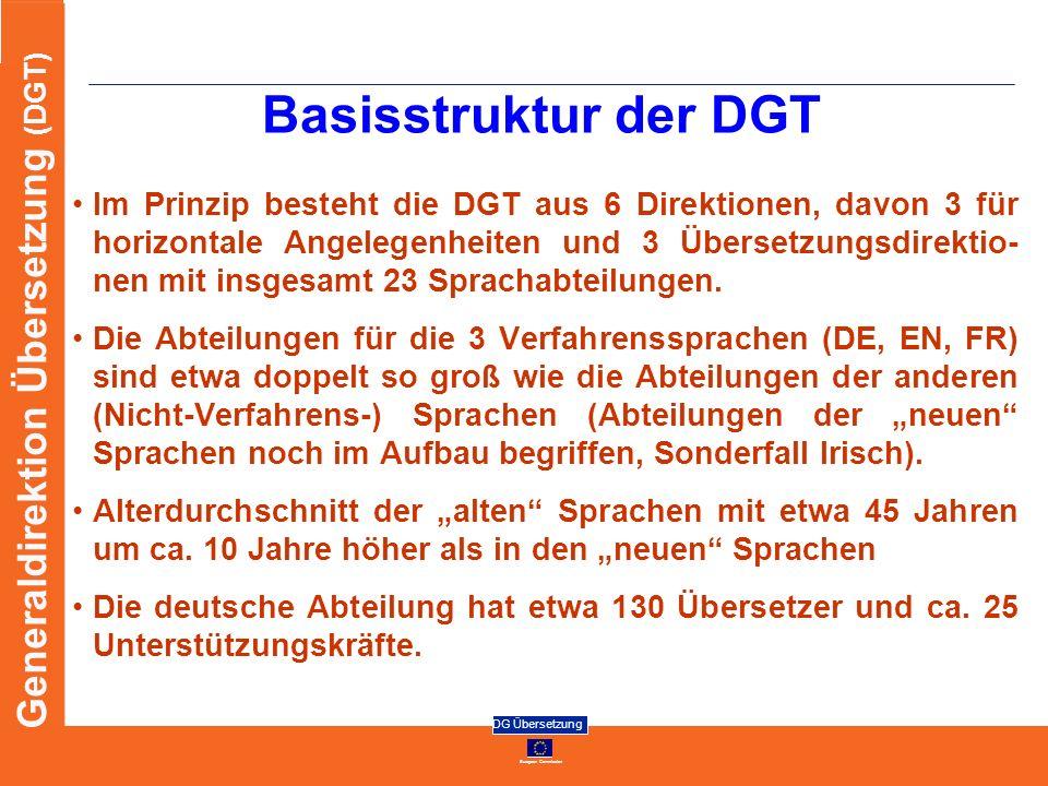 European Commission DG Übersetzung Generaldirektion Übersetzung (DGT) Basisstruktur der DGT Im Prinzip besteht die DGT aus 6 Direktionen, davon 3 für