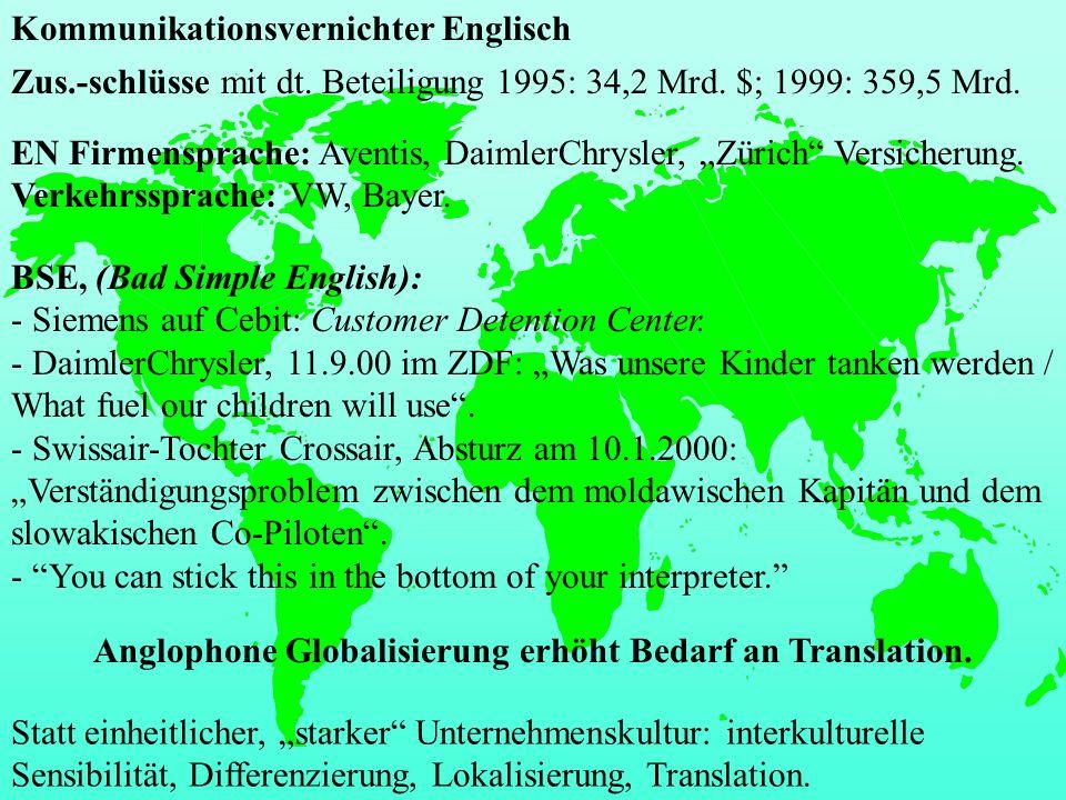Zus.-schlüsse mit dt. Beteiligung 1995: 34,2 Mrd. $; 1999: 359,5 Mrd. EN Firmensprache: Aventis, DaimlerChrysler, Zürich Versicherung. Verkehrssprache