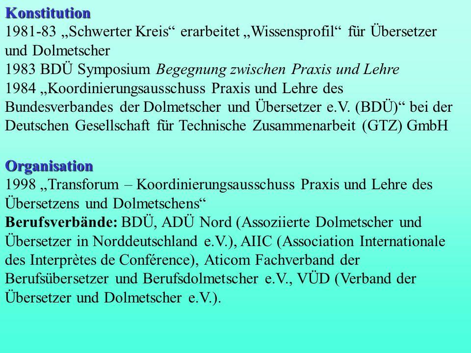 Konstitution 1981-83 Schwerter Kreis erarbeitet Wissensprofil für Übersetzer und Dolmetscher 1983 BDÜ Symposium Begegnung zwischen Praxis und Lehre 19