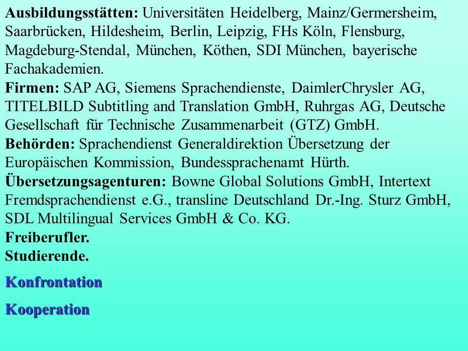 Ausbildungsstätten: Universitäten Heidelberg, Mainz/Germersheim, Saarbrücken, Hildesheim, Berlin, Leipzig, FHs Köln, Flensburg, Magdeburg-Stendal, Mün