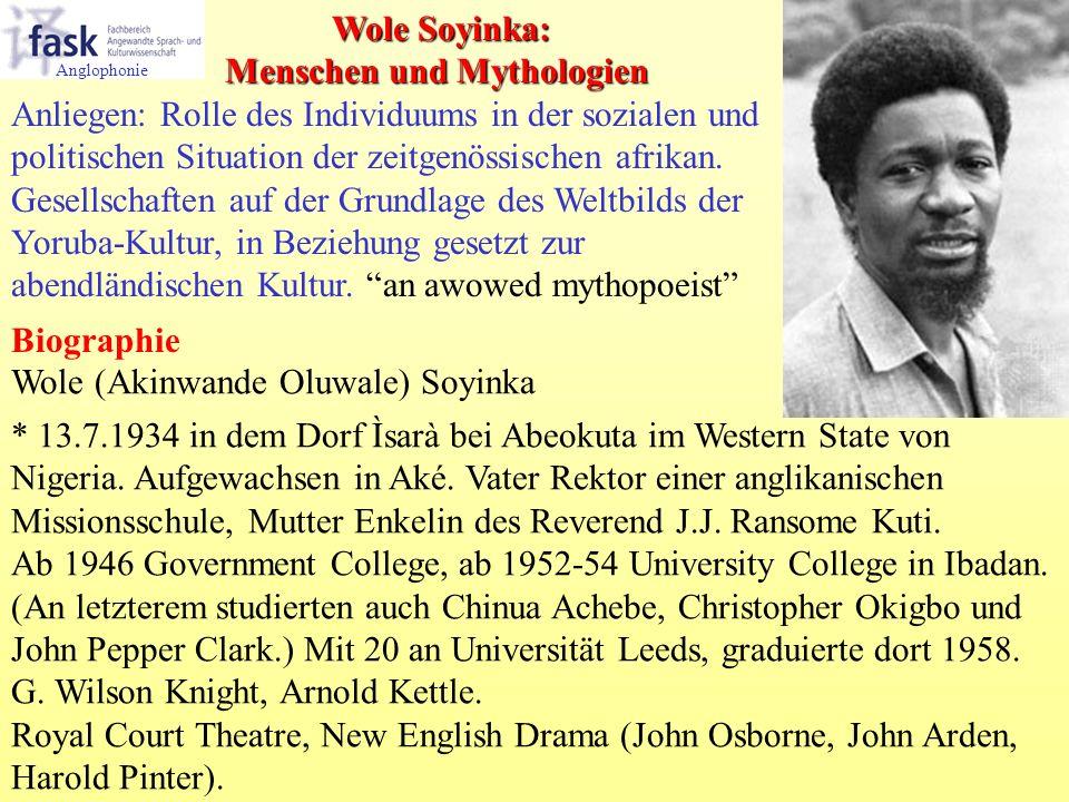 Wole (Akinwande Oluwale) Soyinka * 13.7.1934 in dem Dorf Ìsarà bei Abeokuta im Western State von Nigeria. Aufgewachsen in Aké. Vater Rektor einer angl