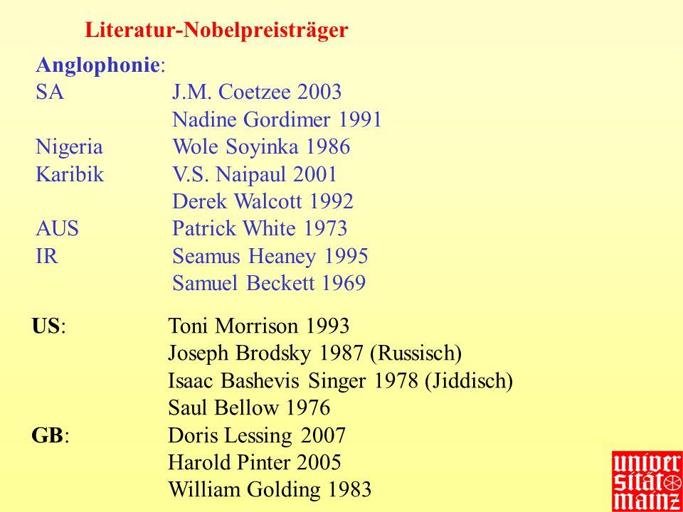 Nadine Gordimer 1991 J.M.Coetzee 2003Derek Walcott 1992V.S.