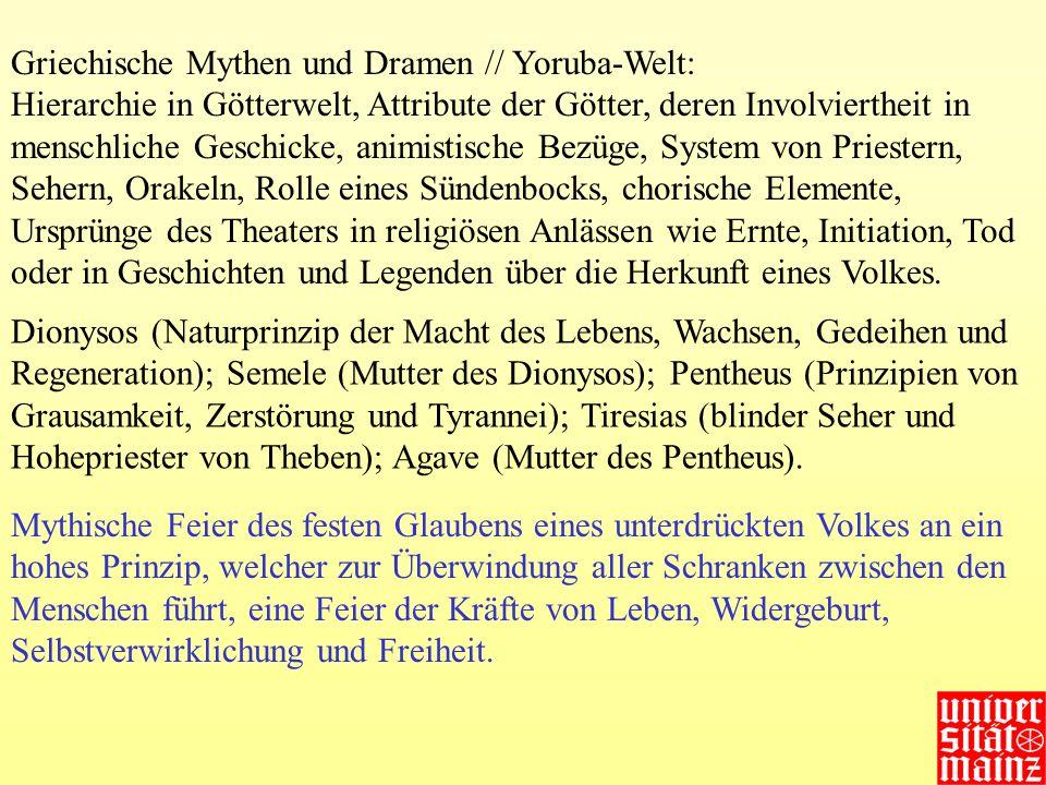 Griechische Mythen und Dramen // Yoruba-Welt: Hierarchie in Götterwelt, Attribute der Götter, deren Involviertheit in menschliche Geschicke, animistis