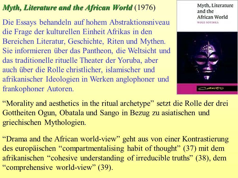 Die Essays behandeln auf hohem Abstraktionsniveau die Frage der kulturellen Einheit Afrikas in den Bereichen Literatur, Geschichte, Riten und Mythen.