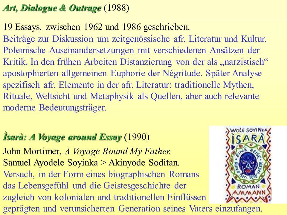 19 Essays, zwischen 1962 und 1986 geschrieben. Beiträge zur Diskussion um zeitgenössische afr. Literatur und Kultur. Polemische Auseinandersetzungen m