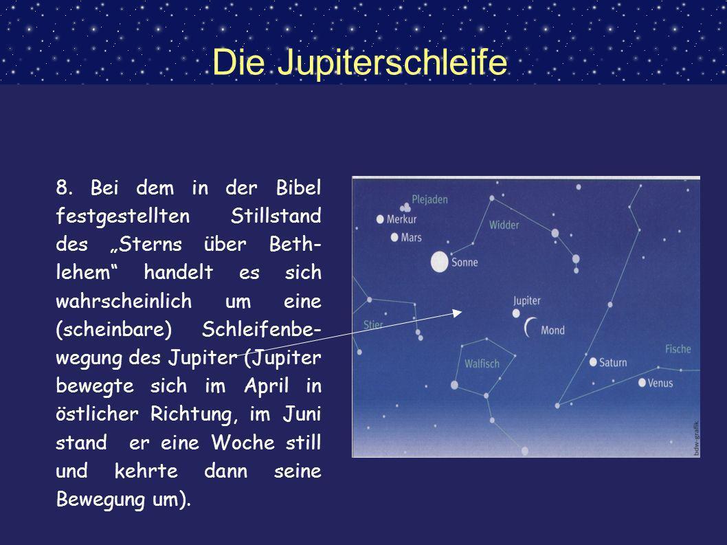 Die Jupiterschleife 8. Bei dem in der Bibel festgestellten Stillstand des Sterns über Beth- lehem handelt es sich wahrscheinlich um eine (scheinbare)