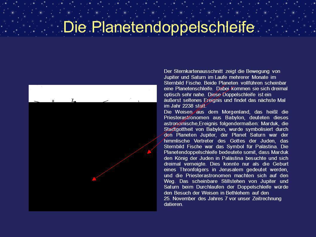 Die Planetendoppelschleife Der Sternkartenausschnitt zeigt die Bewegung von Jupiter und Saturn im Laufe mehrerer Monate im Sternbild Fische. Beide Pla