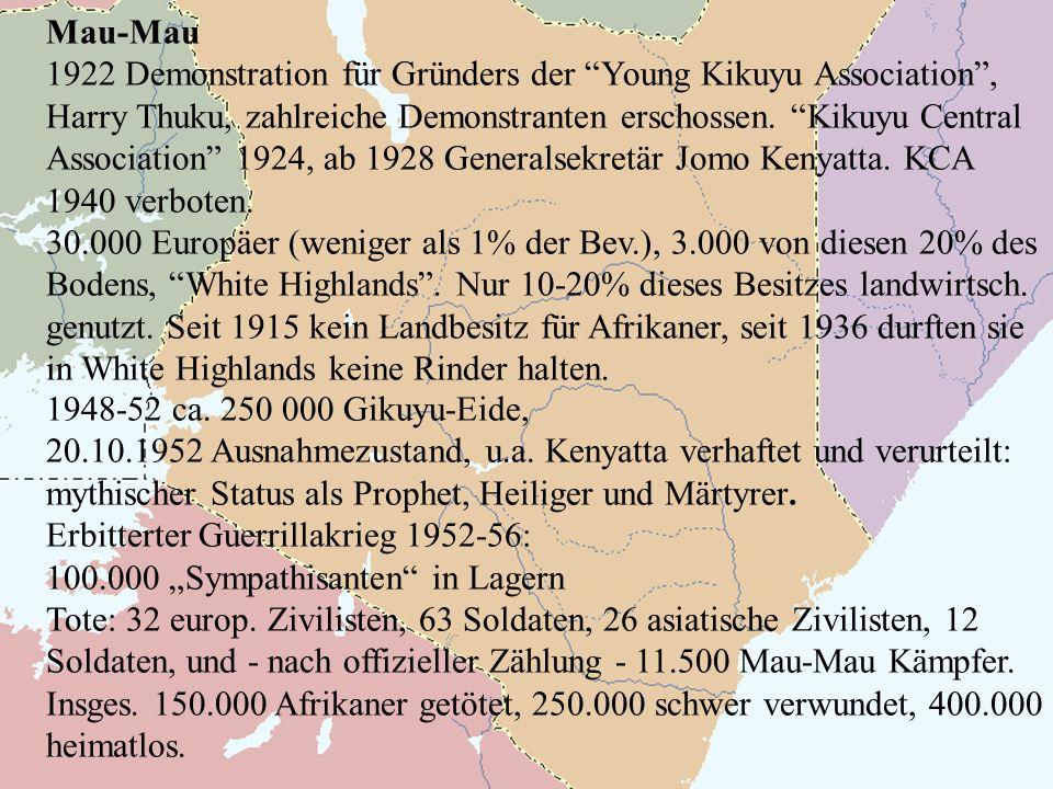 Mau-Mau 1922 Demonstration für Gründers der Young Kikuyu Association, Harry Thuku, zahlreiche Demonstranten erschossen.
