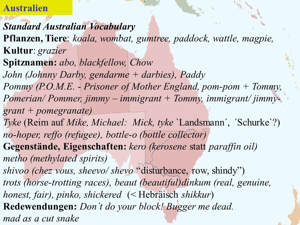 Standard Australian Vocabulary Pflanzen, Tiere: koala, wombat, gumtree, paddock, wattle, magpie, Kultur: grazier Spitznamen: abo, blackfellow, Chow John (Johnny Darby, gendarme + darbies), Paddy Pommy (P.O.M.E.