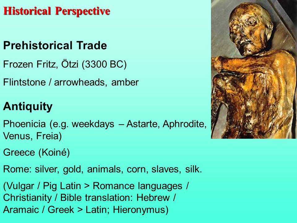 Prehistorical Trade Frozen Fritz, Ötzi (3300 BC) Flintstone / arrowheads, amber Antiquity Phoenicia (e.g. weekdays – Astarte, Aphrodite, Venus, Freia)