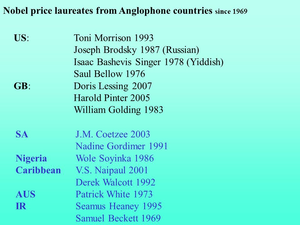 SA J.M.Coetzee 2003 Nadine Gordimer 1991 Nigeria Wole Soyinka 1986 Caribbean V.S.