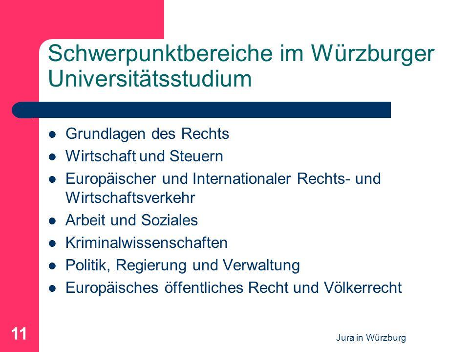 Jura in Würzburg 11 Schwerpunktbereiche im Würzburger Universitätsstudium Grundlagen des Rechts Wirtschaft und Steuern Europäischer und Internationaler Rechts- und Wirtschaftsverkehr Arbeit und Soziales Kriminalwissenschaften Politik, Regierung und Verwaltung Europäisches öffentliches Recht und Völkerrecht