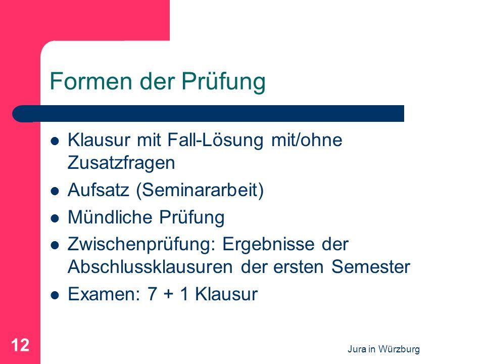Jura in Würzburg 12 Formen der Prüfung Klausur mit Fall-Lösung mit/ohne Zusatzfragen Aufsatz (Seminararbeit) Mündliche Prüfung Zwischenprüfung: Ergebnisse der Abschlussklausuren der ersten Semester Examen: 7 + 1 Klausur