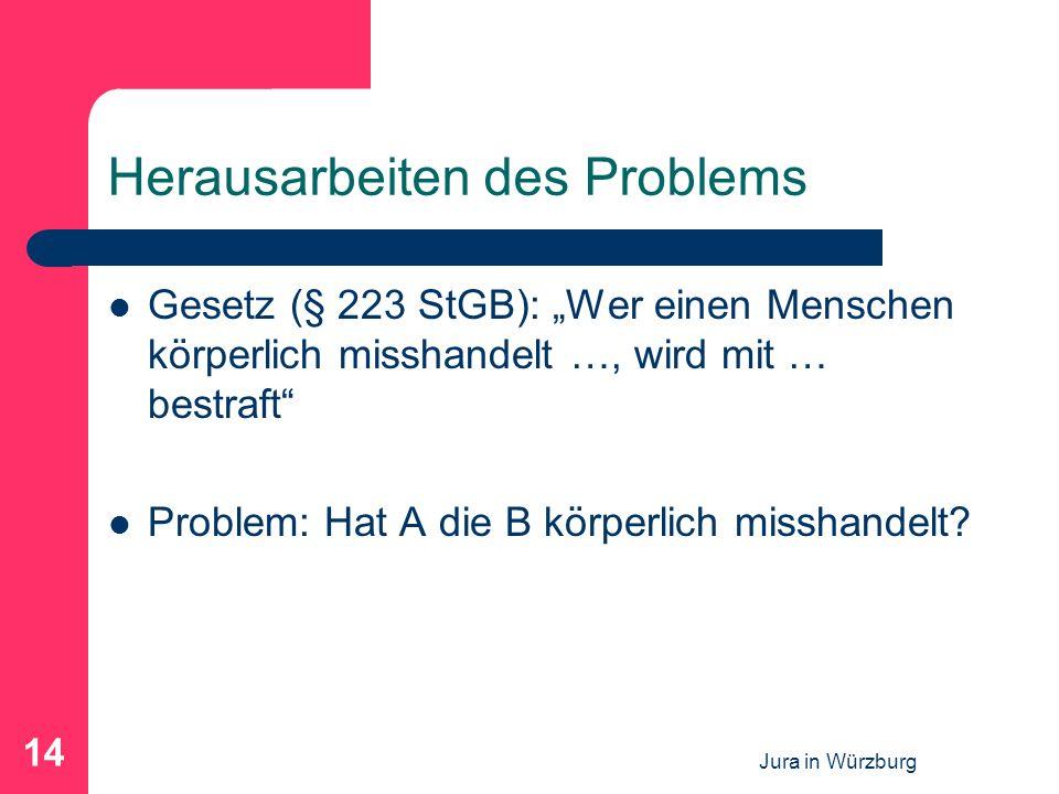 Jura in Würzburg 14 Herausarbeiten des Problems Gesetz (§ 223 StGB): Wer einen Menschen körperlich misshandelt …, wird mit … bestraft Problem: Hat A die B körperlich misshandelt?