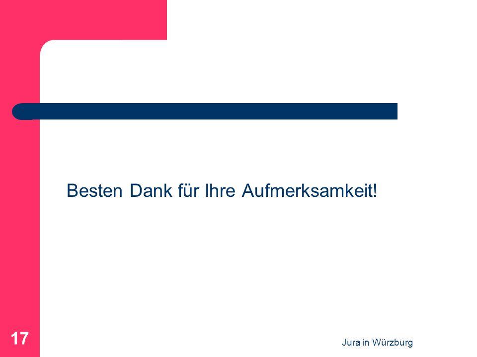 Jura in Würzburg 17 Besten Dank für Ihre Aufmerksamkeit!