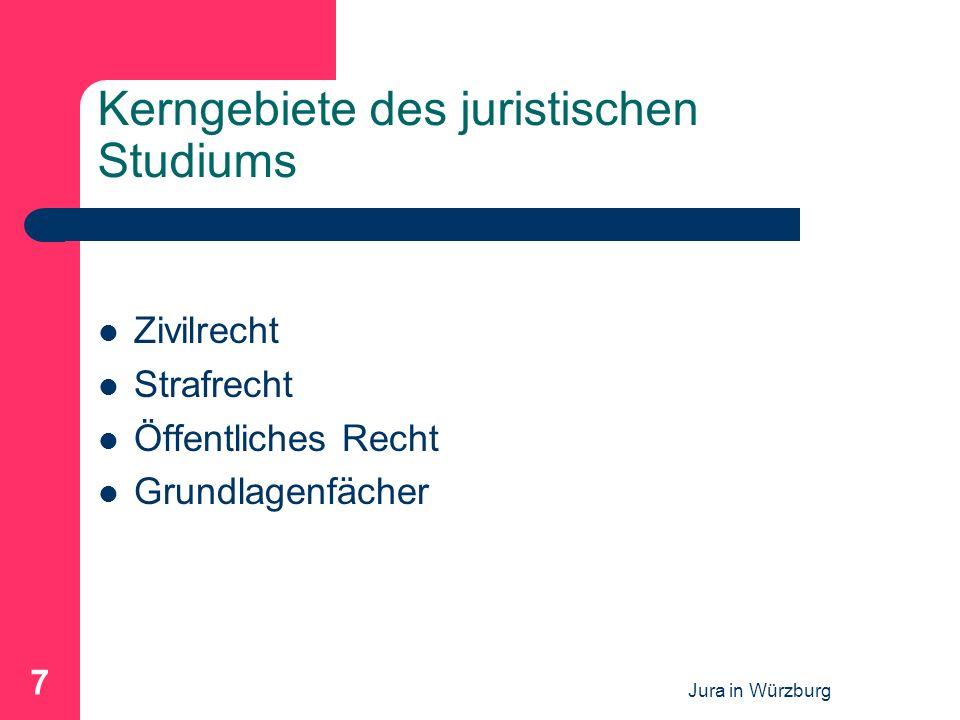 Jura in Würzburg 8 Zivilrecht Regelt die Rechtsverhältnisse der Bürger untereinander Prinzip der Privatautonomie Bürgerliches Recht (BGB) – z.B.
