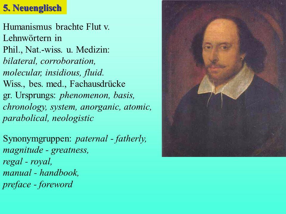 Humanismus brachte Flut v.Lehnwörtern in Phil., Nat.-wiss.