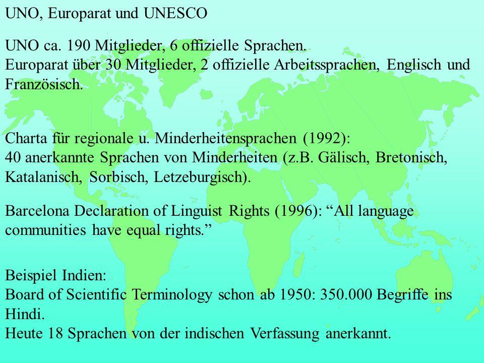 UNO, Europarat und UNESCO Charta für regionale u.