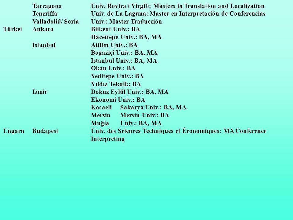 Tarragona Univ.Rovira i Virgili: Masters in Translation and Localization TeneriffaUniv.