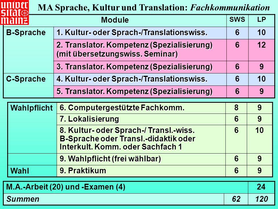 Wahlpflicht 6.Computergestützte Fachkomm. 89 7. Lokalisierung 69 8.