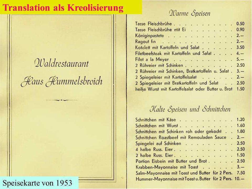Speisekarte von 1953 Translation als Kreolisierung