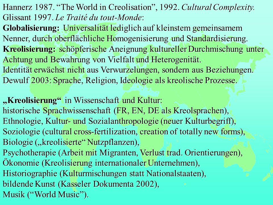 Kreolisierung in Wissenschaft und Kultur: historische Sprachwissenschaft (FR, EN, DE als Kreolsprachen), Ethnologie, Kultur- und Sozialanthropologie(neuer Kulturbegriff), Ethnologie, Kultur- und Sozialanthropologie (neuer Kulturbegriff), Soziologie (cultural cross-fertilization, creation of totally new forms), Biologie (kreolisierte Nutzpflanzen), Psychotherapie (Arbeit mit Migranten, Verlust trad.
