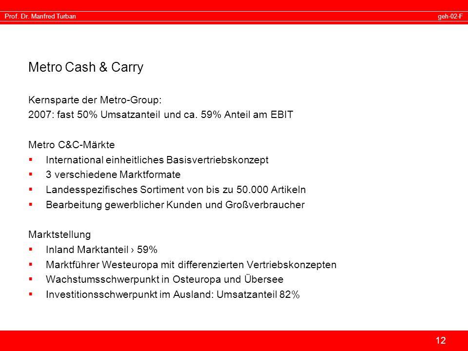 geh-02-FProf. Dr. Manfred Turban 12 Metro Cash & Carry Kernsparte der Metro-Group: 2007: fast 50% Umsatzanteil und ca. 59% Anteil am EBIT Metro C&C-Mä