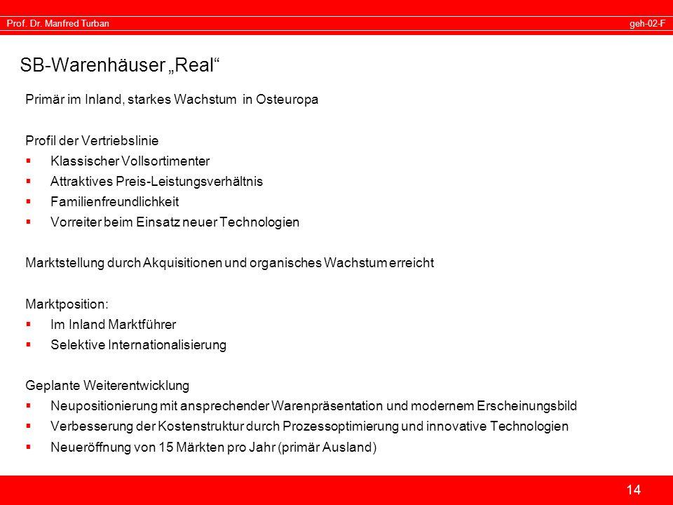 geh-02-FProf. Dr. Manfred Turban 14 SB-Warenhäuser Real Primär im Inland, starkes Wachstum in Osteuropa Profil der Vertriebslinie Klassischer Vollsort