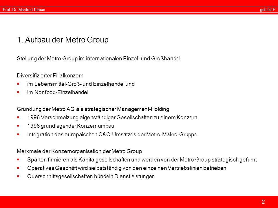 geh-02-FProf. Dr. Manfred Turban 2 1. Aufbau der Metro Group Stellung der Metro Group im internationalen Einzel- und Großhandel Diversifizierter Filia