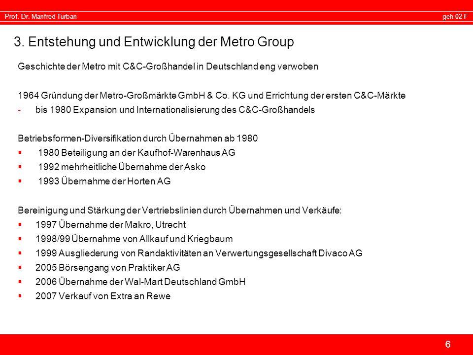 geh-02-FProf. Dr. Manfred Turban 6 3. Entstehung und Entwicklung der Metro Group Geschichte der Metro mit C&C-Großhandel in Deutschland eng verwoben 1