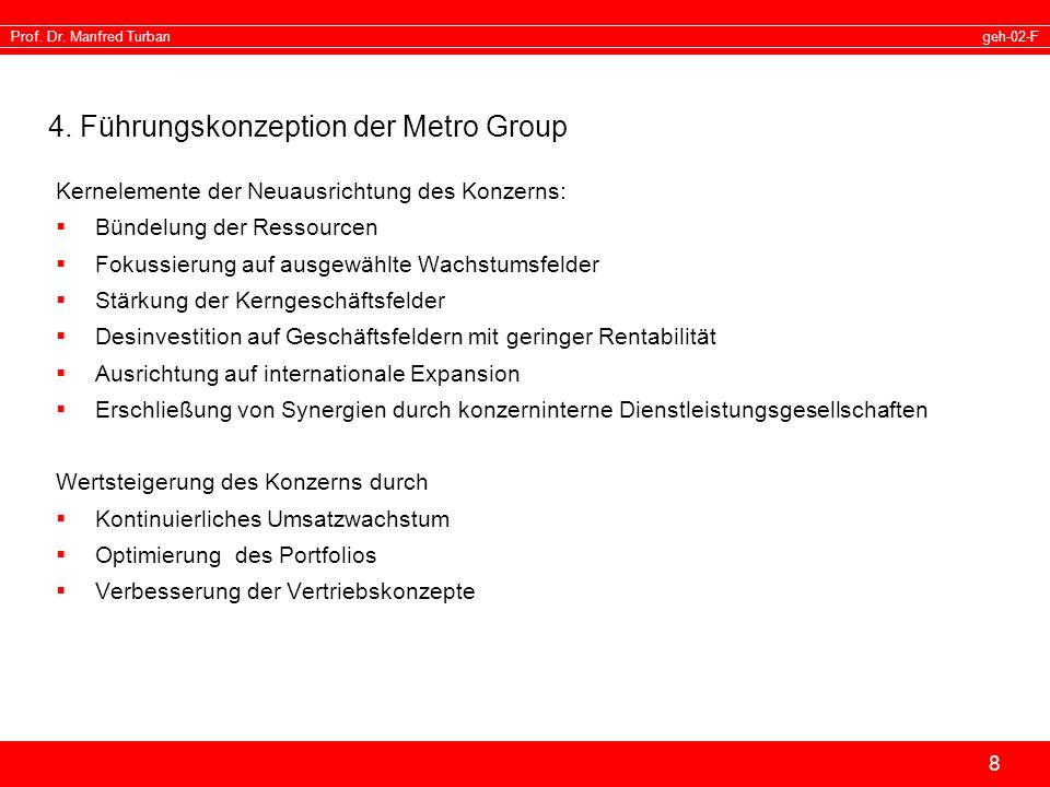 geh-02-FProf. Dr. Manfred Turban 8 4. Führungskonzeption der Metro Group Kernelemente der Neuausrichtung des Konzerns: Bündelung der Ressourcen Fokuss