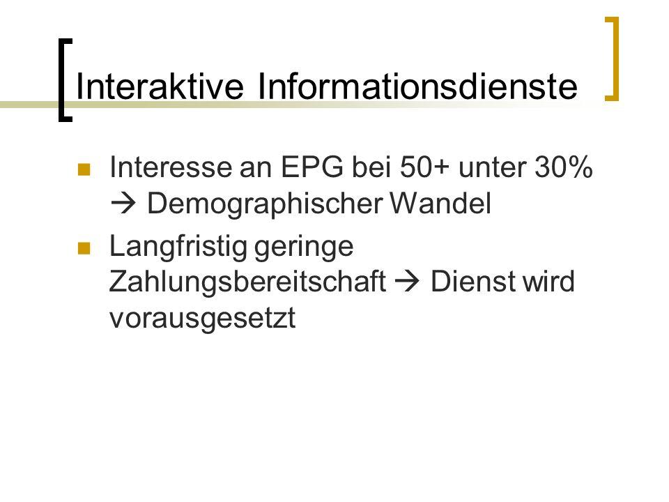 Interaktive Informationsdienste Interesse an EPG bei 50+ unter 30% Demographischer Wandel Langfristig geringe Zahlungsbereitschaft Dienst wird vorausg