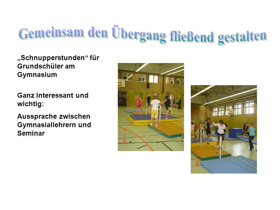 Schnupperstunden für Grundschüler am Gymnasium Ganz interessant und wichtig: Aussprache zwischen Gymnasiallehrern und Seminar