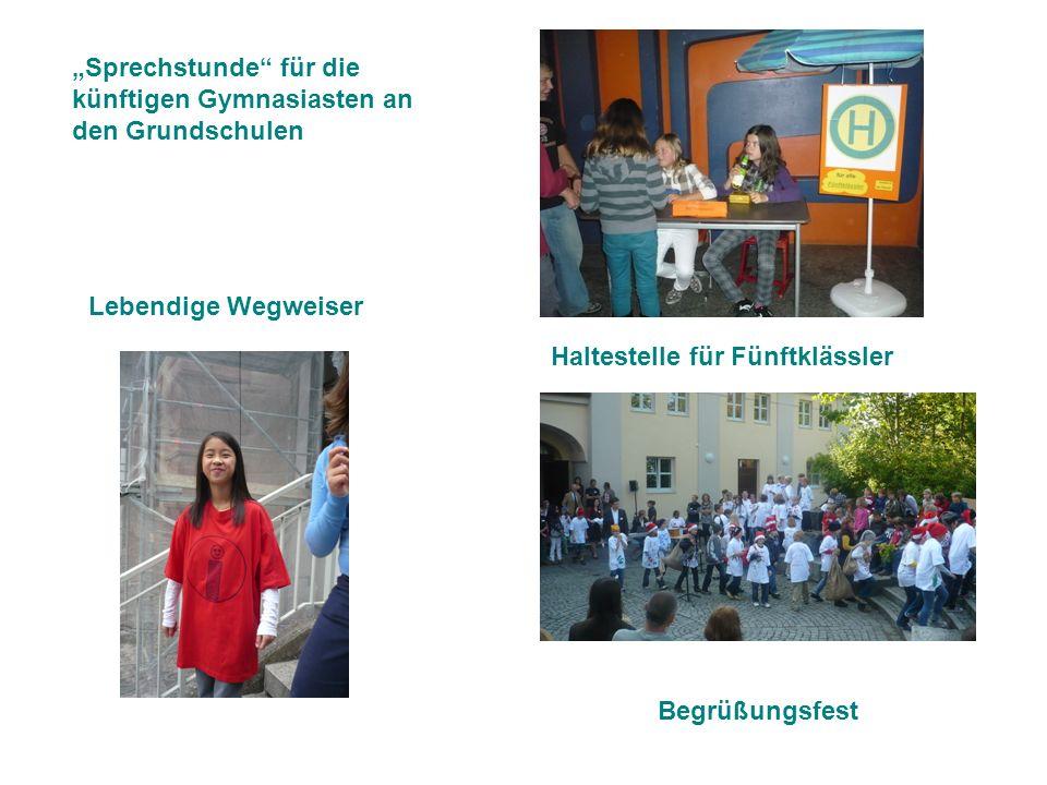 Haltestelle für Fünftklässler Lebendige Wegweiser Begrüßungsfest Sprechstunde für die künftigen Gymnasiasten an den Grundschulen
