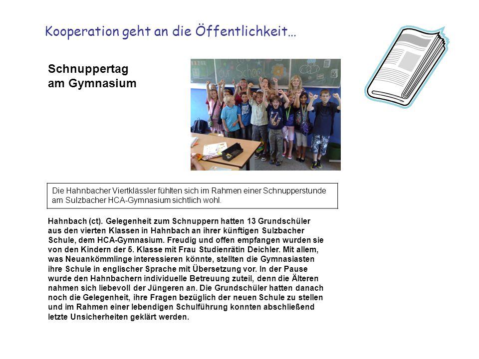 Schnuppertag am Gymnasium Die Hahnbacher Viertklässler fühlten sich im Rahmen einer Schnupperstunde am Sulzbacher HCA-Gymnasium sichtlich wohl.