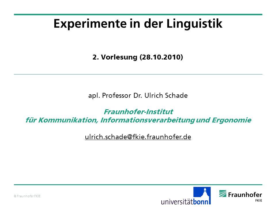 © Fraunhofer FKIE Zur wissenschaftstheoretischen Bedeutung von Experimenten Experimente bilden den Anker zur Wirklichkeit.