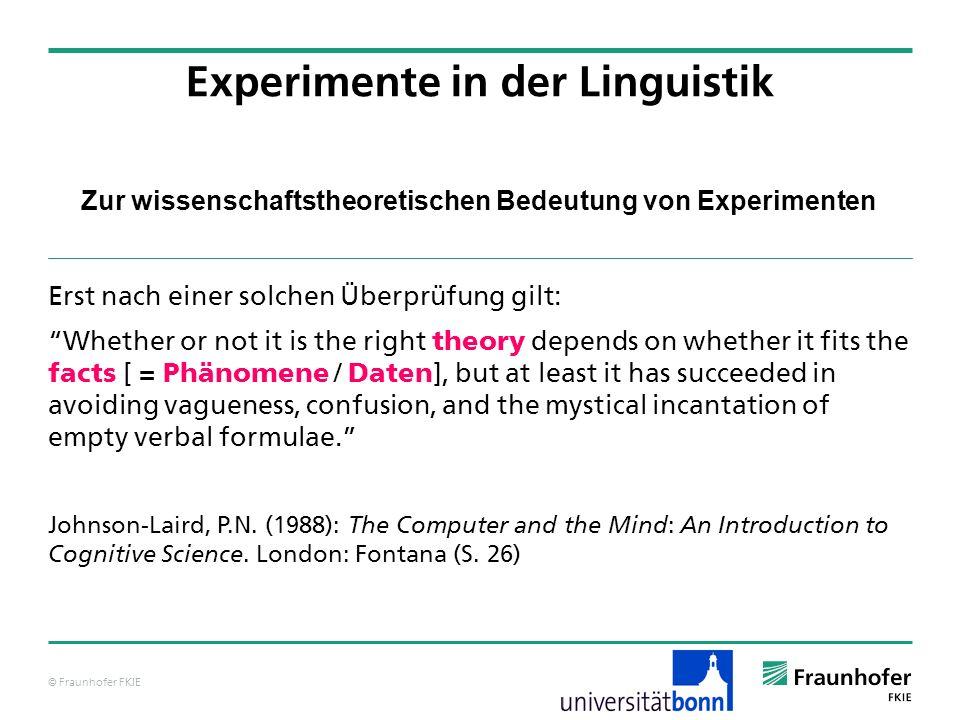 © Fraunhofer FKIE Zur wissenschaftstheoretischen Bedeutung von Experimenten Erst nach einer solchen Überprüfung gilt: Whether or not it is the right t
