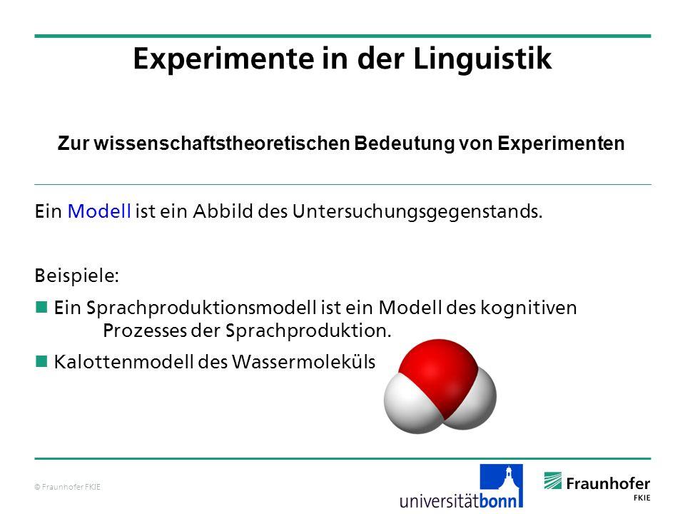 © Fraunhofer FKIE Zur wissenschaftstheoretischen Bedeutung von Experimenten Ein Modell ist ein Abbild des Untersuchungsgegenstands. Beispiele: Ein Spr