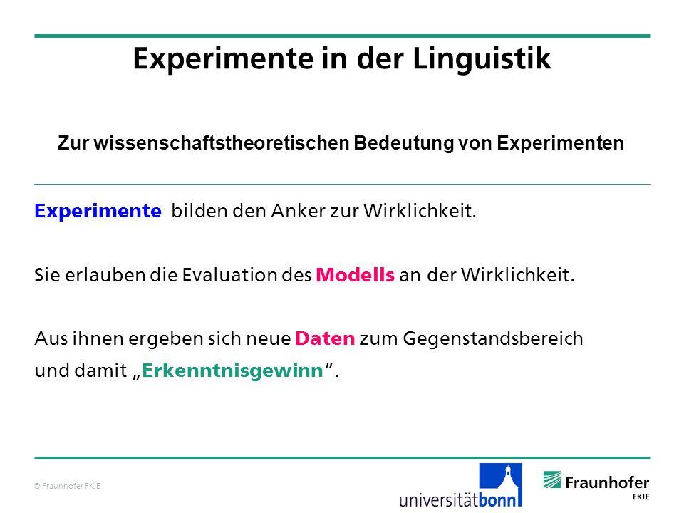 © Fraunhofer FKIE Zur wissenschaftstheoretischen Bedeutung von Experimenten Experimente bilden den Anker zur Wirklichkeit. Sie erlauben die Evaluation