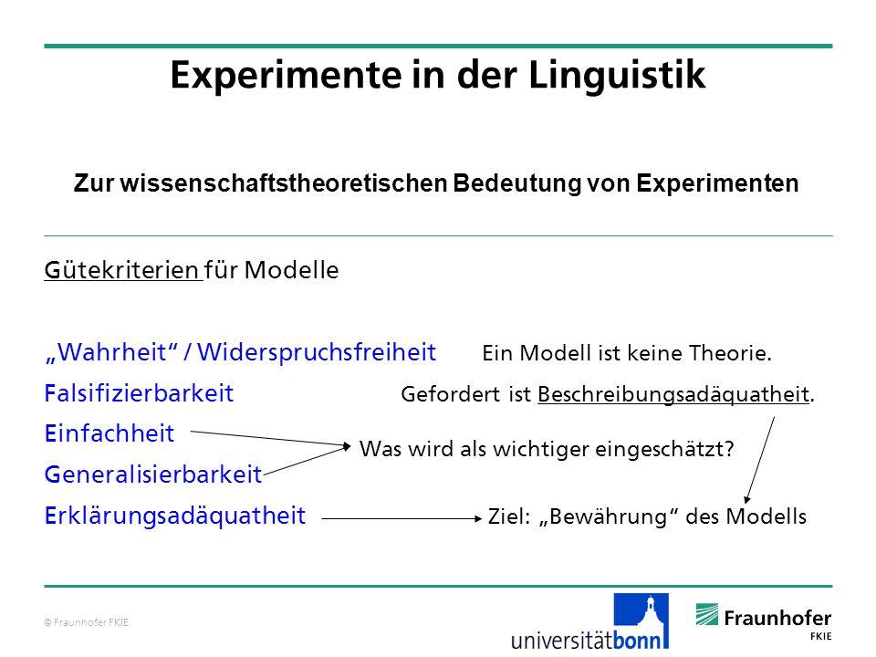 © Fraunhofer FKIE Zur wissenschaftstheoretischen Bedeutung von Experimenten Gütekriterien für Modelle Wahrheit / Widerspruchsfreiheit Ein Modell ist k