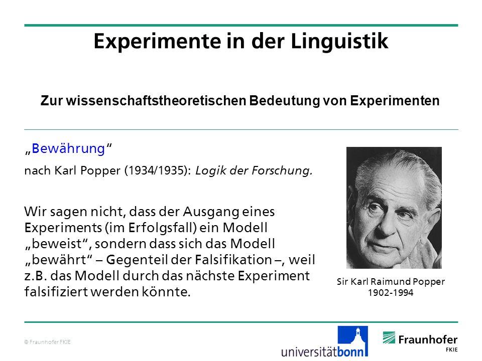 © Fraunhofer FKIE Zur wissenschaftstheoretischen Bedeutung von Experimenten Bewährung nach Karl Popper (1934/1935): Logik der Forschung. Wir sagen nic