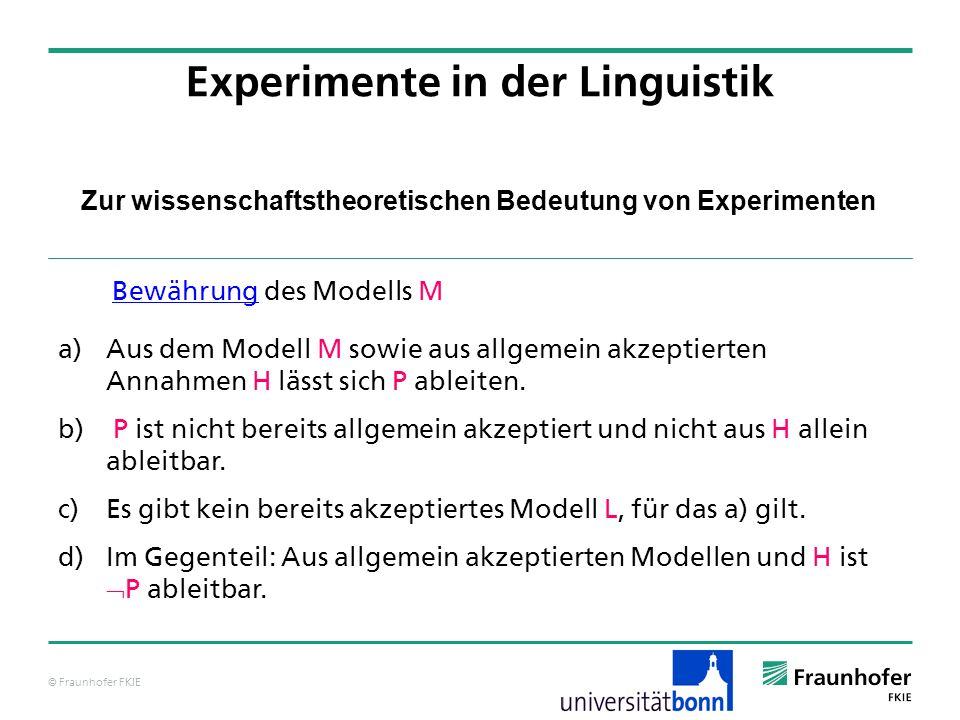 © Fraunhofer FKIE Zur wissenschaftstheoretischen Bedeutung von Experimenten Experimente in der Linguistik a) Aus dem Modell M sowie aus allgemein akze
