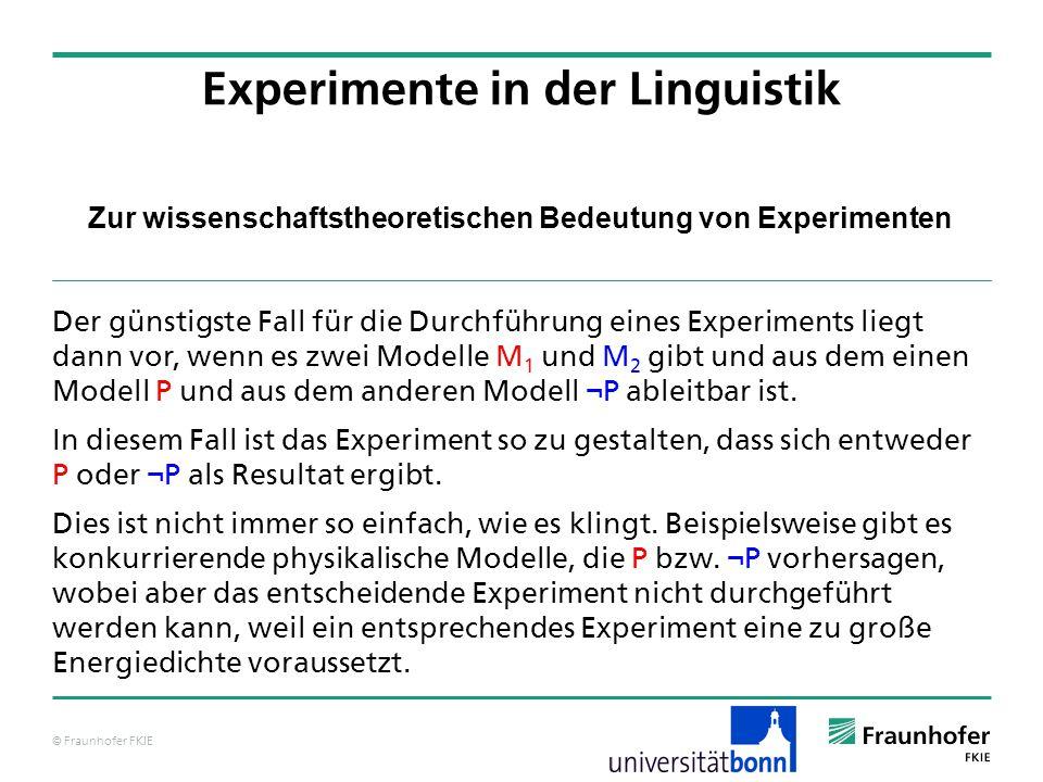 © Fraunhofer FKIE Zur wissenschaftstheoretischen Bedeutung von Experimenten Der günstigste Fall für die Durchführung eines Experiments liegt dann vor,