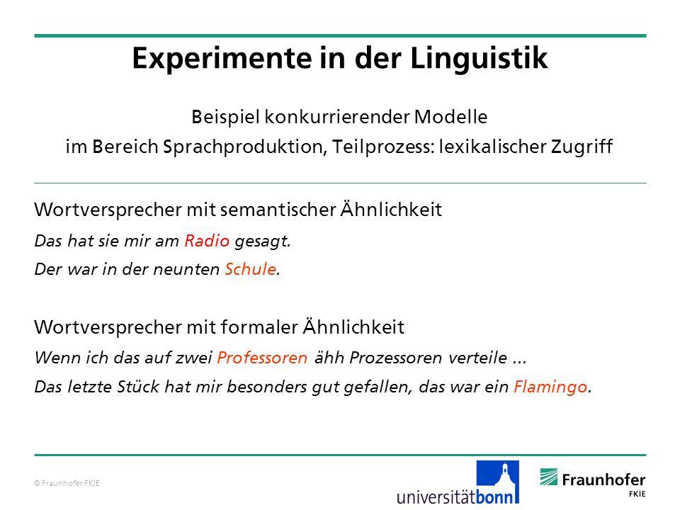 © Fraunhofer FKIE Beispiel konkurrierender Modelle im Bereich Sprachproduktion, Teilprozess: lexikalischer Zugriff Wortversprecher mit semantischer Äh