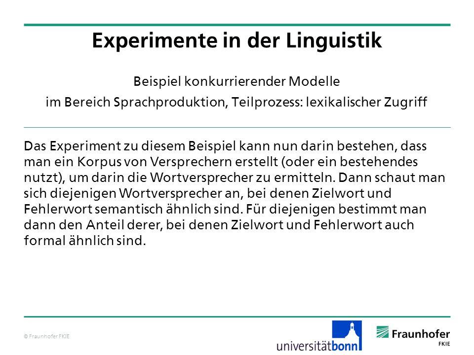 © Fraunhofer FKIE Beispiel konkurrierender Modelle im Bereich Sprachproduktion, Teilprozess: lexikalischer Zugriff Das Experiment zu diesem Beispiel k