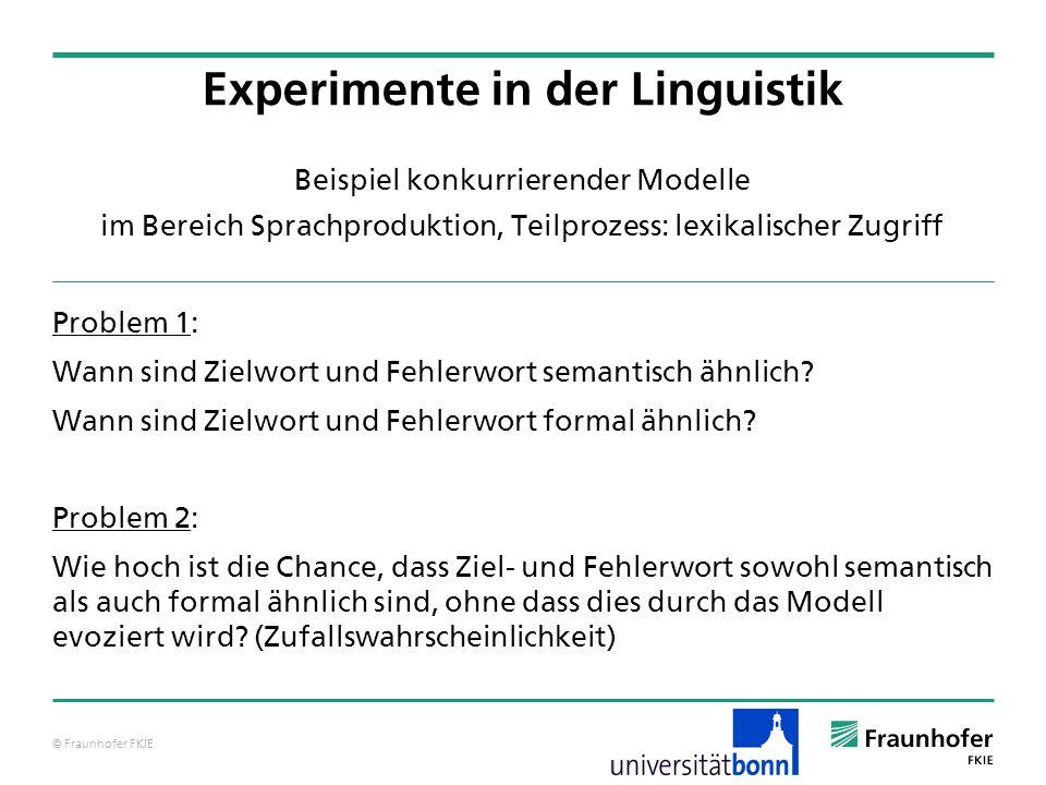 © Fraunhofer FKIE Beispiel konkurrierender Modelle im Bereich Sprachproduktion, Teilprozess: lexikalischer Zugriff Problem 1: Wann sind Zielwort und F