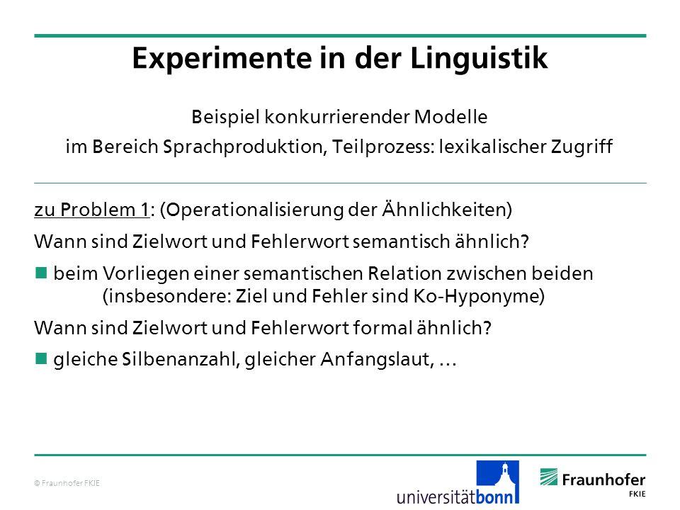 © Fraunhofer FKIE Beispiel konkurrierender Modelle im Bereich Sprachproduktion, Teilprozess: lexikalischer Zugriff zu Problem 1: (Operationalisierung