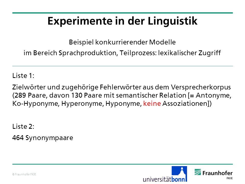 © Fraunhofer FKIE Beispiel konkurrierender Modelle im Bereich Sprachproduktion, Teilprozess: lexikalischer Zugriff Liste 1: Zielwörter und zugehörige